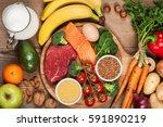 balanced diet   healthy food on ... | Shutterstock . vector #591890219