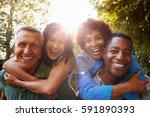 mature friends giving... | Shutterstock . vector #591890393