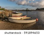 boats on auzance river  brem... | Shutterstock . vector #591894653