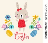 vector happy easter card... | Shutterstock .eps vector #591912014