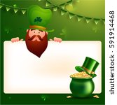 leprechaun holding blank sign... | Shutterstock .eps vector #591914468