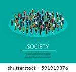 big people crowd in circle.... | Shutterstock .eps vector #591919376