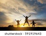 silhouette children jump  | Shutterstock . vector #591919643