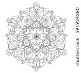 vector round floral mandala.... | Shutterstock .eps vector #591924380