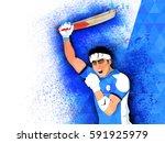 aggressive batsman expressing...   Shutterstock .eps vector #591925979