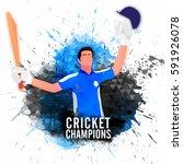 cricket batsman in winning pose ... | Shutterstock .eps vector #591926078