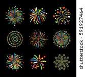 fireworks set vector salute... | Shutterstock .eps vector #591927464