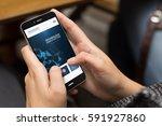 mobile design concept  girl... | Shutterstock . vector #591927860