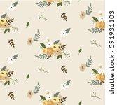 bouquet of delicate flowers on... | Shutterstock .eps vector #591931103