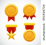 golden star medal award with... | Shutterstock . vector #591934724