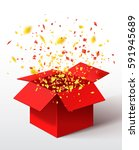 open red gift box and confetti. ... | Shutterstock . vector #591945689