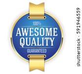 blue awesome quality badge  ... | Shutterstock .eps vector #591946559
