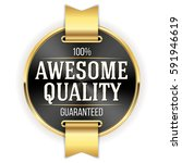 black awesome quality badge  ... | Shutterstock .eps vector #591946619