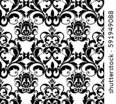 damask baroque  seamless... | Shutterstock .eps vector #591949088