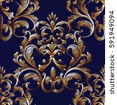 embroidery style floral damask... | Shutterstock .eps vector #591949094