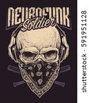 neurofunk soldier. skull in... | Shutterstock .eps vector #591951128