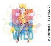 hipster style poster. hand... | Shutterstock .eps vector #591952724