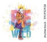 hipster style poster. hand... | Shutterstock .eps vector #591952928