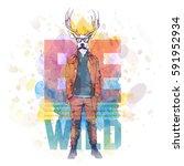 hipster style poster. hand... | Shutterstock .eps vector #591952934
