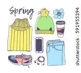hand drawn fashion illustration.... | Shutterstock .eps vector #591955394