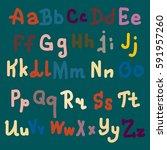 hand drawn alphabet. brush... | Shutterstock . vector #591957260