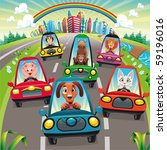 Traffic on the road. Funny cartoon and vector illustration, isolated objects. - stock vector