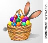 easter eggs egg basket.easter... | Shutterstock .eps vector #591965714