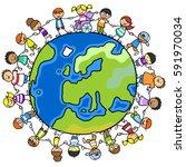 cartoon of kids around world... | Shutterstock . vector #591970034