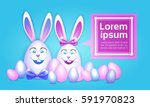 decorated colorful eggs rabbit... | Shutterstock .eps vector #591970823