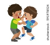 two boys fighting and... | Shutterstock .eps vector #591978524