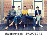 multiethnic asian business... | Shutterstock . vector #591978743