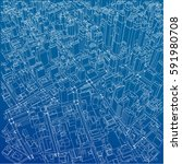 wire frame city  blueprint... | Shutterstock .eps vector #591980708