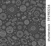 seamless pattern with cosmos... | Shutterstock .eps vector #591983216