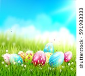 easter greeting card with... | Shutterstock .eps vector #591983333
