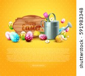 cute easter greeting card with... | Shutterstock .eps vector #591983348