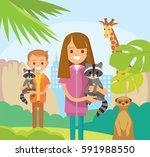 children with baby raccoons in... | Shutterstock .eps vector #591988550