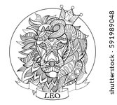 lion zodiac sign coloring book... | Shutterstock .eps vector #591989048