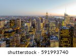 empire state building at sunset ... | Shutterstock . vector #591993740