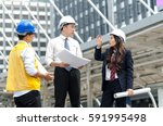 group of asian architects... | Shutterstock . vector #591995498