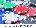 casino poker money chips... | Shutterstock . vector #592004303