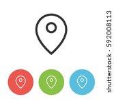 map pointer vector icon  pin...   Shutterstock .eps vector #592008113