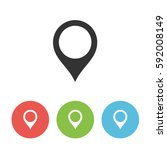 map pointer vector icon  pin... | Shutterstock .eps vector #592008149