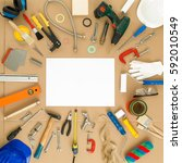 set of diy tools with space for ... | Shutterstock . vector #592010549