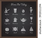 collection of cafe icons on...   Shutterstock . vector #592011194