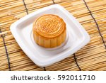 mooncake and tea chinese mid... | Shutterstock . vector #592011710