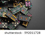 black color dominoes with... | Shutterstock . vector #592011728