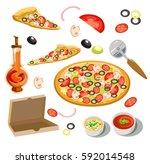 pizza ingredients italian menu... | Shutterstock .eps vector #592014548