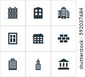 set of 9 simple construction... | Shutterstock . vector #592037684