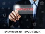 business man pointing hand on... | Shutterstock . vector #592041824