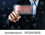 business man pointing hand on... | Shutterstock . vector #592041830
